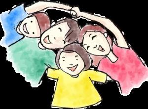 na jasnym tle graficznie przedstawiono rodzinę. Składa się ona z czterech, uśmiechniętych osób, kobieta w koszulce czerwonej, mężczyzna w zielonej, chłopiec w niebieskiej a dziewczynka w żóltej. Wszystkie postacie mają brązowe włosy. Kobieta i chłopiec trzymają się za ręce.